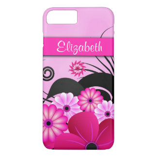 Modern Bright Hot Pink Flowers Fuchsia Floral Slim iPhone 8 Plus/7 Plus Case