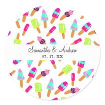 Modern bright ice cream summer illustration trendy classic round sticker