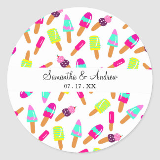 Modern bright ice cream summer illustration trendy classic round sticker