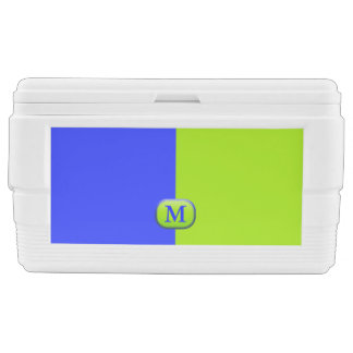 Modern Bright Neon Blue Green Monogram Chest Cooler