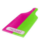 Modern Bright Neon Pink Green Monogram Cutting Board