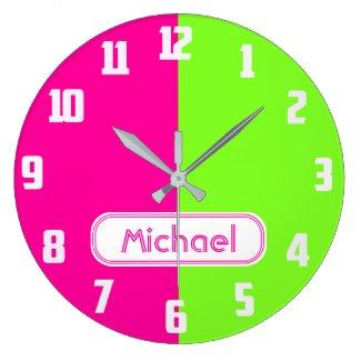 Modern Bright Neon Pink Green Monogram Large Clock