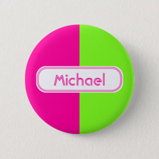 Modern Bright Neon Pink Green Monogram Pinback Button