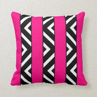 Modern Bright Neon Pink Stripes Monochrome Chevron Pillow