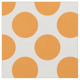 Modern Bright Orange and White Large Polka Dots Fabric