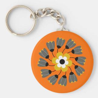 Modern Bright Orange Round Floral Swirl Keychain