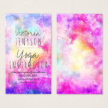 "Modern bright pastel nebula watercolor yoga business card<br><div class=""desc"">A modern yoga instructor business card with bright and colorful nebula space background design with vibrant colors,  pink,  purple,  yellow,  blue and faux glitter stars. The outer space nebula is hand painted with watercolor.</div>"