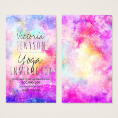 Modern Bright Pastel Nebula Watercolor Yoga Business Card at Zazzle