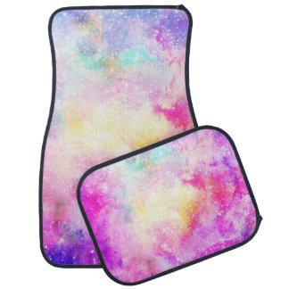 Modern bright pastel nebula watercolor car mat