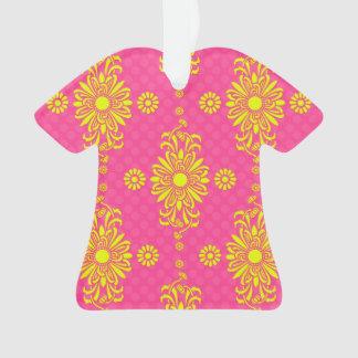Modern Bright Pink and Yellow Floral Design Ornament