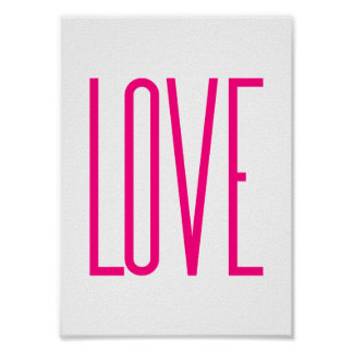 Modern Bright Pink Love Poster