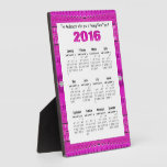 Modern Bright Pink Pattern 2016 yearly calendar Plaque