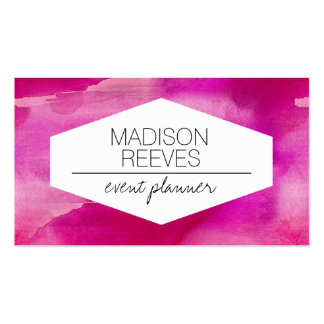 Modern Bright Pink Watercolor Business Cards