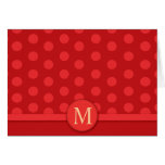 Modern Bright Red Polka Dot Note Card Thank you