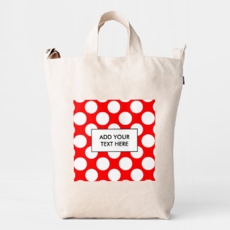 Modern Bright Red White Polka Dots Pattern Duck Bag