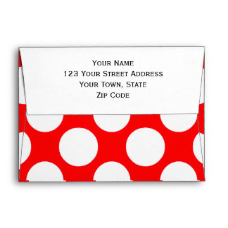 Modern Bright Red White Polka Dots Pattern Envelope