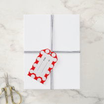 Modern Bright Red White Polka Dots Pattern Gift Tags
