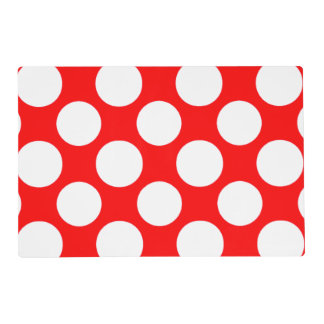 Modern Bright Red White Polka Dots Pattern Placemat