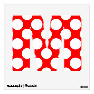 Modern Bright Red White Polka Dots Pattern Wall Decal
