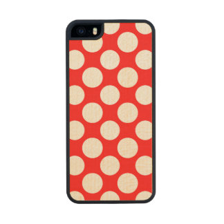 Modern Bright Red White Polka Dots Pattern Wood iPhone SE/5/5s Case