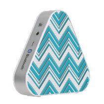 Modern Bright Turquoise Chevron Pattern Bluetooth Speaker