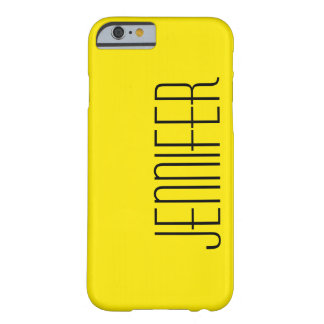 Modern, Bright Warm Yellow, Personalized Big Name Barely There iPhone 6 Case