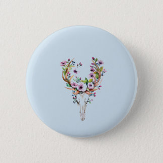 modern bright watercolor deer skull with flowers button