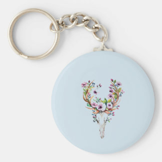 modern bright watercolor deer skull with flowers keychain