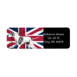 modern british flag union jack english hunt dog return address label