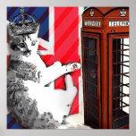 modern british flag  union jack london cat fashion poster