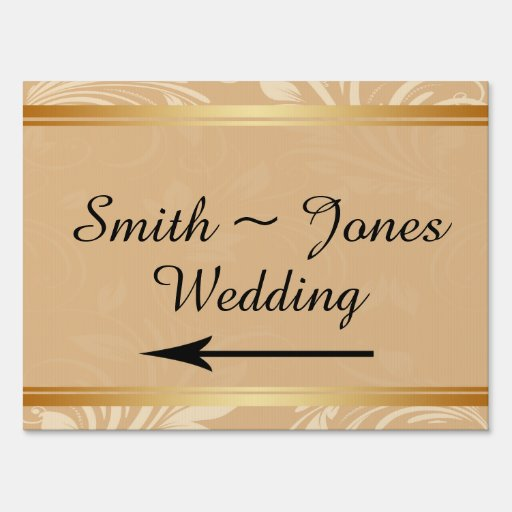 Modern Bronze Floral Wedding Direction Sign