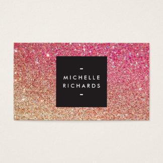 MODERN BRONZE-PINK OMBRE GLITTER Business Card