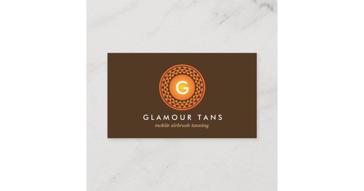 MODERN BRONZE SUN LOGO MONOGRAM for TANNING SALON Business Card ...
