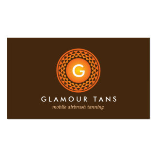 MODERN BRONZE SUN LOGO MONOGRAM for TANNING SALON Double-Sided Standard Business Cards (Pack Of 100)