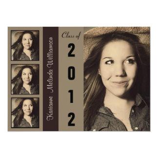 """Modern Brown 4 Photo Graduation Announcement 5.5"""" X 7.5"""" Invitation Card"""