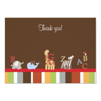 Modern Brown Alphabet Soup Flat Thank you Note Card