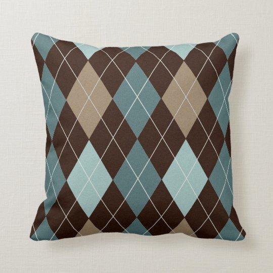 Modern Brown and Blue Argyle Throw Pillow Cushion