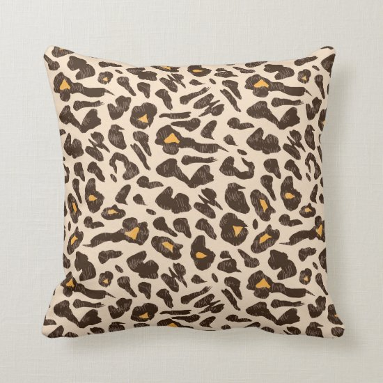 Modern Brown and Gold Leopard Print Throw Pillow