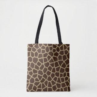 Modern Brown Beige Giraffe Animal Geometric Print Tote Bag