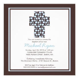 Modern Brown Blue Cross Boys Baptism Invitation