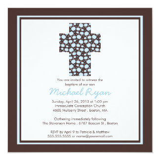 "Modern Brown Blue Cross Boys Baptism Invitation 5.25"" Square Invitation Card"