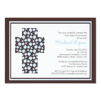 "Modern Brown Blue Cross Boys  CommunionInvitation 4.5"" X 6.25"" Invitation Card"