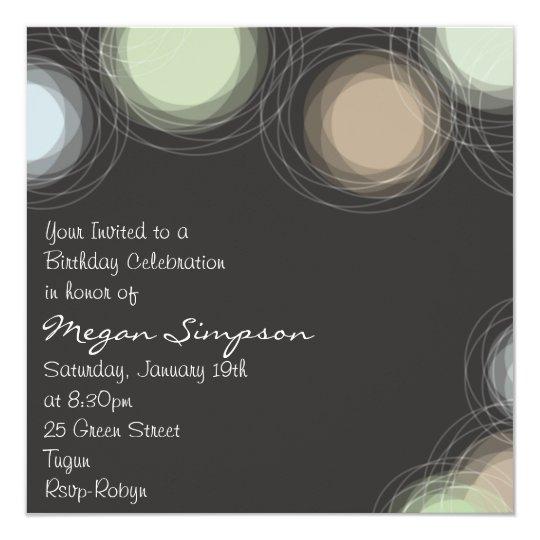 Modern Brown Circle Design Birthday Invitation