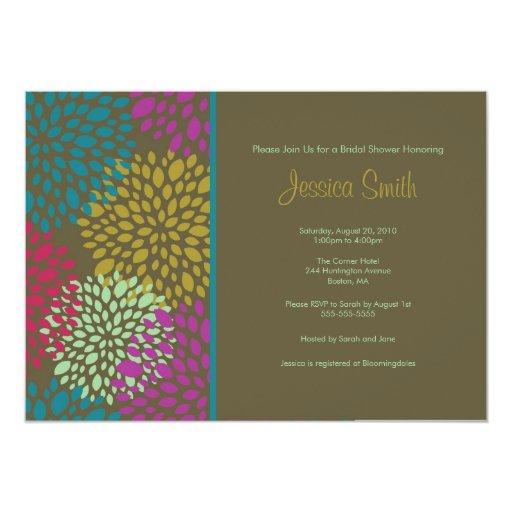 Modern Brown Floral Bridal Shower Invite