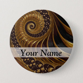 Modern brown fractal spiral pattern button