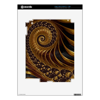 Modern brown fractal spiral pattern decal for the iPad 2