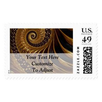 Modern brown fractal spiral pattern postage stamp