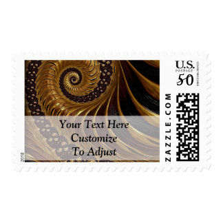 Modern brown fractal spiral pattern postage