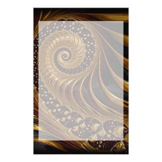 Modern brown fractal spiral pattern stationery