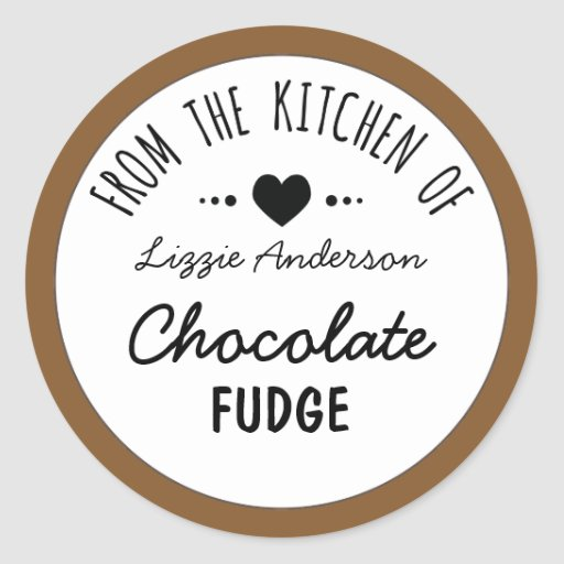Modern Brown From the Kitchen of Label Classic Round Sticker